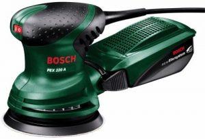 Bosch DIY Exzenterschleifer PEX 220 A, 1 Schleifblatt K 80, Koffer (220 W, Schleifteller-Ø 125 mm, Microfilter System, Schwingzahl 4.000 – 24.000 min-1, Exzentrizität 4 mm)