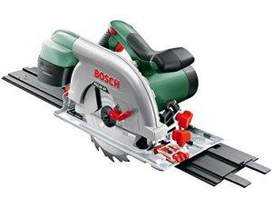 Bosch DIY Kreissäge PKS 66 AF, 1 Hartmetallsägeblatt Speedline Wood, Parallelanschlag, Führungsschiene, Karton (1600 W, Schnitttiefenbereich bei 90° 0-66 mm, Kreissägeblatt Nenn-Ø 190 mm)