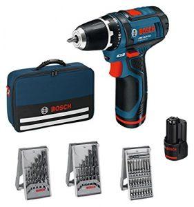 Bosch Professional GSR 10,8-2-LI Akku-Bohrschrauber (mit 39-teilig Zubehör-Set, 2x Akku 2,0 Ah, Ladegerät in Tasche, 10,8 V) 0615990GB0