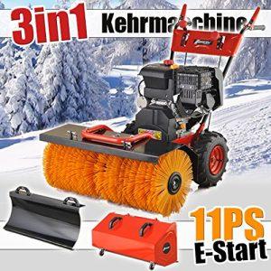 Benzin Kehrmaschine 11 PS Elektrostarter Schneeschieber Motorbesen
