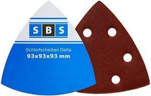 50 Stück SBS Klett-Schleifdreiecke 93x93x93 mm Korn 180 für Delta-Schleifer 6 Loch