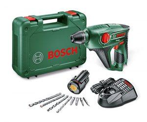 Bosch DIY Akku-Bohrhammer Uneo, Akku, Ladegerät, Betonbohrer, 2 x Universalbohrer 5 und 6 mm, Bits, Koffer (10,8 V, 2,0 Ah, 10 mm Bohr-Ø Beton)