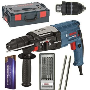 BOSCH Bohrhammer GBH 2-28 F + L-BOXX + SDS Plus 2x Meißel + SDS-Bohrer-SET 5 teilig 0611267601 + Feuerzeug