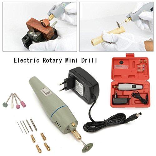 Mini Handschleifer Schleifer, GOCHANGE Schleifmaschine Elektro Rotary Drill Grinder Schleifen Werkzeug Set mit Power Adapter Koffer