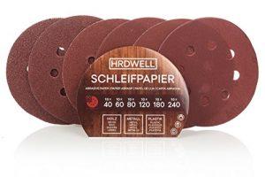HRDWELL® Klett-Schleifpapier 125 mm Ø 60 Stück Körnung je 10 x 40/60/80/120/180/240 Haft Schleifscheiben-Klett Exzenter-Schleifer 8 Loch