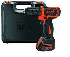 Black + Decker 10,8V Li-Ion Ultra-Kompakt-Bohrer, LED-Arbeitslicht, 1 Slidepack-Akku, 400 mA Ladegerät, Koffer, BDCDD12K