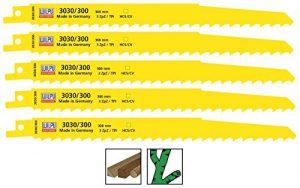 Säbelsägeblätter 5 Stück HCS CV 300 mm für Säbelsäge Holz S1617K Wilpu 3030/300