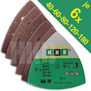 30 Stück HKB ® Schleifdreiecke, 93x93x93mm mit Klett-Verbindung, 6-Loch für Delta-Schleifer, je 6 Stück Korn 40,60,80,120,180, Schleifmittel Korund, Hochwerige Profi-Qualität für verschiedene Oberflächen, feiner und riefenfreier Schliff, für detailgenaues Schleifen in Ecken und an Kanten, universell einsetzbar, Artikel-Nr. 20269