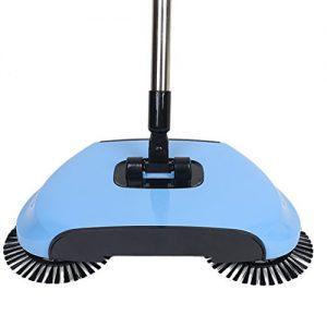 360 Grad Rotierende Haushalt Automatische Hand Push Kehrmaschine Besen, Multifunktions Profession Staubsauger fegenend Roboter ohne Strom, 3 in Müllschaufel 1 und Mülleimer Bodenreinigung für den Heimgebrauch(BLUE)