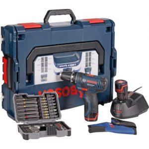 Bosch Akkubohrschrauber-Set GSR 10,8-2-LI Professional blau L-BOXX, 2x Akku (1,3 Ah), Bitset 43 tlg.