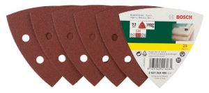 Bosch DIY 25tlg. Schleifblatt Set verschiedene Materialien für Deltaschleifer (Körnung 120, 6 Löcher)