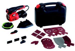 Black+Decker 220W 4-in-1 Multischleifer, Multischleifmaschine mit Autoselect-Auswahl, werkzeuglosem Schleifplattenwechsel, mit Fingeraufsatz, im Koffer mit 17tlg. Schleifpapier-Zubehör-Set, KA280K