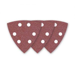 50 MENZER Klett-Schleifblätter / Schleifpapier für Deltaschleifer rot – 93 mm – Korn 120 – 6-Loch