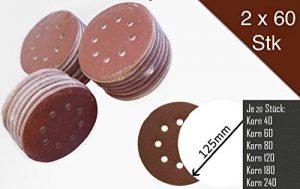 120 Stück SBS Klett-Schleifscheiben Ø 125 mm Körnung je 20 x 40/60/80/120/180/240 für Exzenter-Schleifer 8 Loch