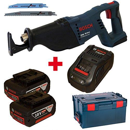 Bosch Akku-Säbelsäge GSA 18 V-Li mit 2x 18,0V 6,0Ah Akkus und Ladegerät GAL1880CV in L-Boxx Gr. 3/238
