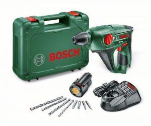 Bosch DIY Akku-Bohrhammer Uneo, Akku, Ladegerät, Betonbohrer, Universalbohrer, Bits, Koffer (10,8 V, 1,5 Ah, max. Bohr-Ø Metall: 8 mm, Beton: 10 mm, Holz: 10 mm)