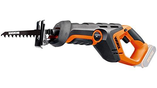 Worx WX508.9 20 V Akku Säbelsäge, Drehzahl 3,000 U/min, 22 mm Hublänge, Arbeitslicht, Pendelhub, 1 Stück, ohne Akku, Ladegerät und Zubehör, orange/schwarz