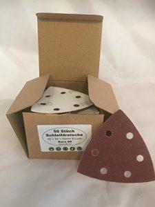 50 Stück Original Blaufaust® Schleifscheiben Schleifblätter Schleifpapier für Deltaschleifer Dreieckschleifer 80er Körnung mit 6 Löcher 93 x 93 x 93 mm für Holz Metall