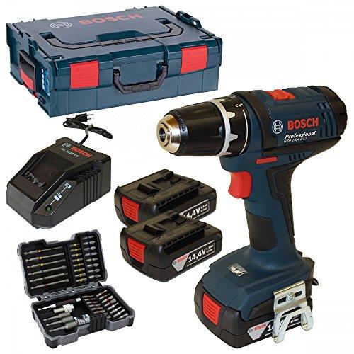 Bosch Akku-Bohrschrauber GSR 14,4-2-LI Professional, 3x1,5 Ah Akkus, Ladegerät 1820 CV, L-Boxx Gr. 2 + EXTRA Bosch Bitsortiment 43 tlg.