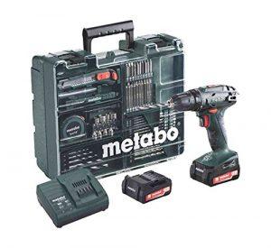 Metabo Akkuschrauber BS 14.4 mit Zubehör-Set, Akkubohrer mit integriertem Arbeitslicht und 2 Li-Ion Langzeit Akkus (14,4V, 2Ah), Zubehör-Set vorhanden