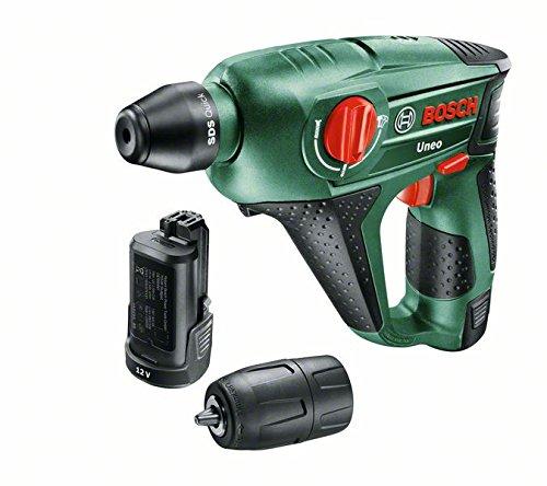 Bosch DIY Akku-Bohrhammer Uneo, 2 Akku, Ladegerät, Rundschaftadapter, 2 SDS-Quick Betonbohrer, 2 Hex-Schaft Bohrer, 4 Bits, Koffer (12 V, 2,5 Ah, 10 mm Bohr-Ø Beton)