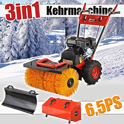 3in1 Benzin Kehrmaschine 6,5PS Schneefräse Schneeschieber Motorbesen Schneepflug