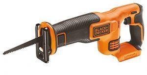 Black+Decker Li-Ion Akku-Säbelsäge, Pendelhubsäge (18V, 22 mm Hublänge, max. 110 mm Schnitttiefe, flexibler Sägeschuh, ergonomische Griffgummierung, Lieferung ohne Akku und Ladegerät) BDCR18N