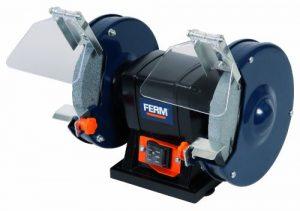 FERM BGM1019 Doppelschleifmaschine 150W – 150mm – Incl. P36 und P60 Schleifsteinen, Schutzbrille und Funkenfänger