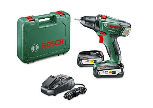 Bosch Akkuschrauber PSR 18 LI-2 (2 Akku, Ladegerät, Bit, Koffer, 18 Volt System, 2,5 Ah)