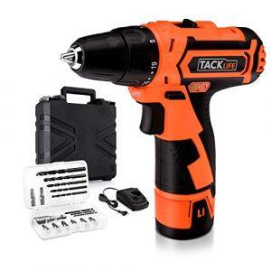 Tacklife PCD02B Akku-Bohrschrauber 12V(1500 mAh, 25 Nm, Max. Schrauben-Ø: 10 mm, Ladegerät, 17-tlg. Zubehör-Set, 2 Gängen, 19+1 Drehmomentstufen, LED-Arbeitslicht), inkl. Profi-Koffer