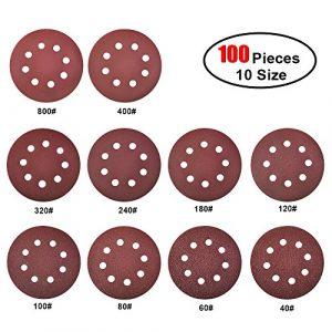 Jingxu 100 Stück Klett-Schleifpapier Schleifscheiben 125 mm Ø Körnung je 10 x 10Maß-40 / 60 / 80 / 100/ 120 / 180 / 240 / 320 / 400 / 800 Haft Schleifscheiben-Klett Exzenter-Schleifer 8 Loch