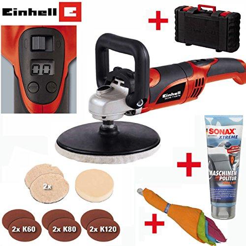 EINHELL Poliermaschine / Polierer Winkelpolierer Set - inklusive SONAX XTREME Maschinenpolitur 250 ml, Polier-Schaumstoffaufsatz; 2 Polierhauben, 5 extragroße Mikrofaser-Poliertücher (38 x 40 cm) und Koffer