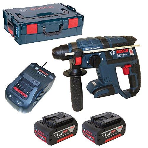 Bosch Professional 061190400F GBH 18 V-EC Akku-Schlagbohrhammer, 2 x 5,0 Ah Akku, Schnellladegerät, Tiefenanschlag, L-Boxx, 42922