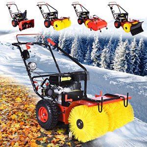 BRAST Benzin Kehrmaschine Schneefräse Laubsammler Schneeschieber 4 in 1 Gerät 4,8kW(6,5PS)