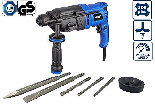 HERZO Bohrhammer 900W 3.0 J mit Bohrer+Meissel 5 Stk SDS-Plus (bis 26 mm Bohr-Ø) Tiefenanschlag, Zusatzhandgriff, Koffer, Staubschutzkappe