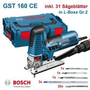 Bosch Stichsäge GST 160 CE Professional + 31 Stichsägeblätter, in L-Boxx Nr.2