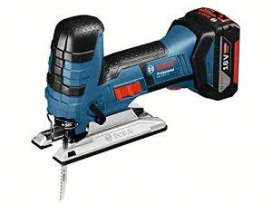 Bosch Professional 06015A5104 GST 18 V-LI S Akku-Stichsäge, 2 x 5, 0 Ah Akku, Schnellladegerät, 3x Stichsägeblatt, L-Boxx (18V, Schnitttiefe Holz: 120mm; ALU: 20mm; Metall: 8mm), 0 W, 18 V, 42922