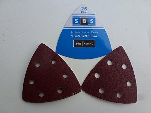 100 Stück Klett-Schleifdreiecke 93x93x93 mm Korn 40 für Delta-Schleifer 6 Loch
