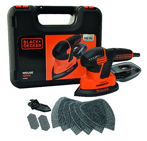 Black+Decker Dreieckschleifer Mouse KA2500K / Kraftvolle Schleifmaschine mit Staubfangbehälter inkl. Mikrofilter / Für das Abschleifen selbst an schwer zugänglichen Stellen / 1 x Schleifer 120 W