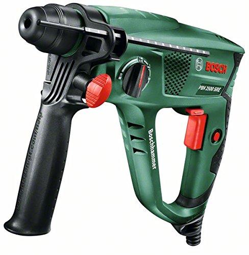 Bosch Bohrhammer PBH 2500 SRE (SDS Bohrfutter, 6tlg. SDS-plus Bohrerset, Tiefenanschlag, Zusatzhandgriff, Koffer, 600 Watt)