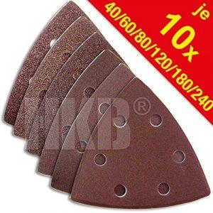 60 Stück HKB ® Schleifdreiecke für Delta-Schleifer 93x93x93mm, 6-Loch, je 10 Stück Korn 40,60,80,120,180,240, Schleifmittel Korund, Hochwerige Profi-Qualität für verschiedene Oberflächen, feiner und riefenfreier Schliff, universell einsetzbar, für detailgenaues Schleifen in Ecken und an Kanten, Artikel-Nr. 81543