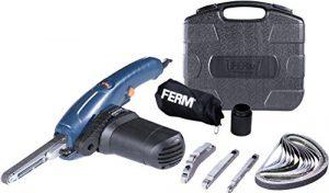 FERM EFM1001 Präzisionsbandschleifer 400W – Variable Geschwindigkeit – Inkl. 3 Schleifarmen und 12 Schleifbänder in einem robuster Aufbewahrungskoffer