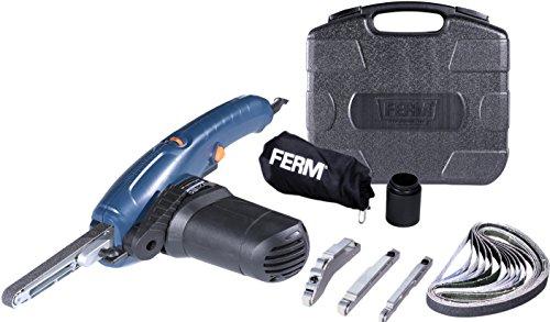 FERM EFM1001 Präzisionsbandschleifer 400W - Variable Geschwindigkeit - Inkl. 3 Schleifarmen und 12 Schleifbänder in einem robuster Aufbewahrungskoffer