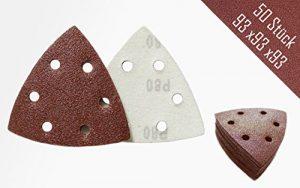 50 Stück Klett-Schleifpapier 93x93x93 Körnung 80 für Delta-Schleifer 6 Loch