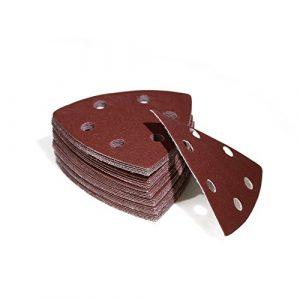 Woltersberger 100 Stück Schleifdreiecke 93 x 93 x 93 mm   Körnung P60   für Deltaschleifer, vielseitig einsetzbar   Klett Schleifpapier Haft
