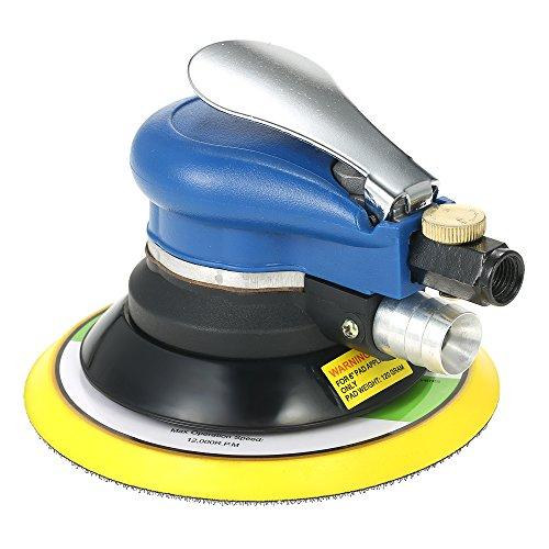 KKmoon 10000 RPM Aluminium Poliermaschine mit Vakuum Tasche, Pneumatisch Doppelaktion Schleifmaschine 150mm Polierteller 90PSI 0.63 MPa Arbeitsdruck, Polieren Schleifen Wachsen Werkzeuge