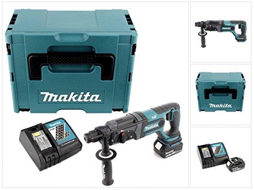 Makita DHR 241 18 V Li-ion Akku Bohrhammer mit SDS-Plus Aufnahme im Makpac + 1x BL 1850 5,0 Ah Akku + DC 18 RC Schnellladegerät