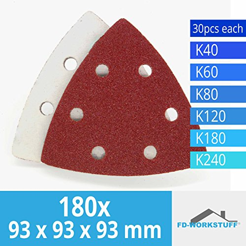 180 Stück Klett-Schleifdreiecke 93x93x93 mm Körnung je 30 x 40/60/80/120/180/240 für Delta-Schleifer 6 Loch