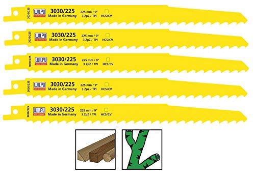 Säbelsägeblätter 5 Stück HCS CV 225 mm für Säbelsäge Holz S1111K Wilpu 3030/225