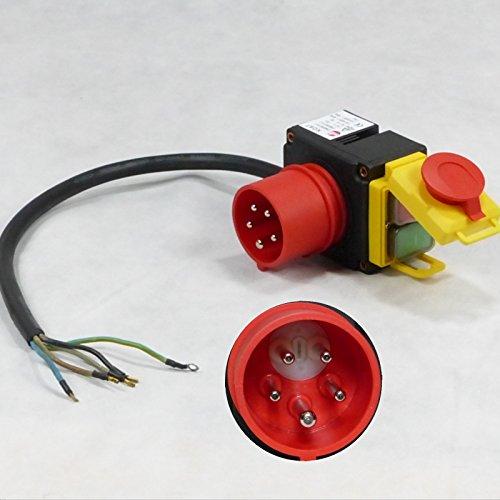 Orginal KEDU KOA7 Geräteschalter Maschinenschalter 380/400 V 3 Phasen mit 0,5 m Kabel und Phasenwender inkl. kombiniertem Notausschalter